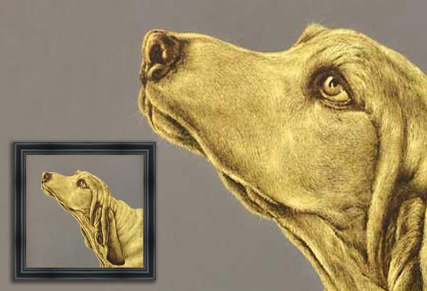 Scratchboard Gog Portrait in Gold Color