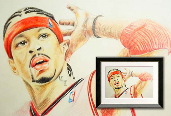 Color Pencil Portrait of Allen Iverson