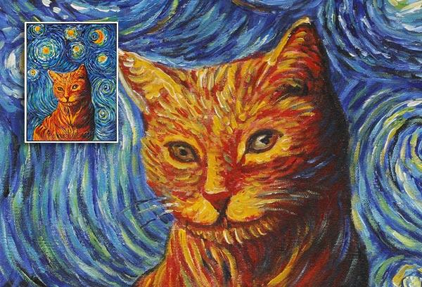 Cat Portrait in van Gogh Style