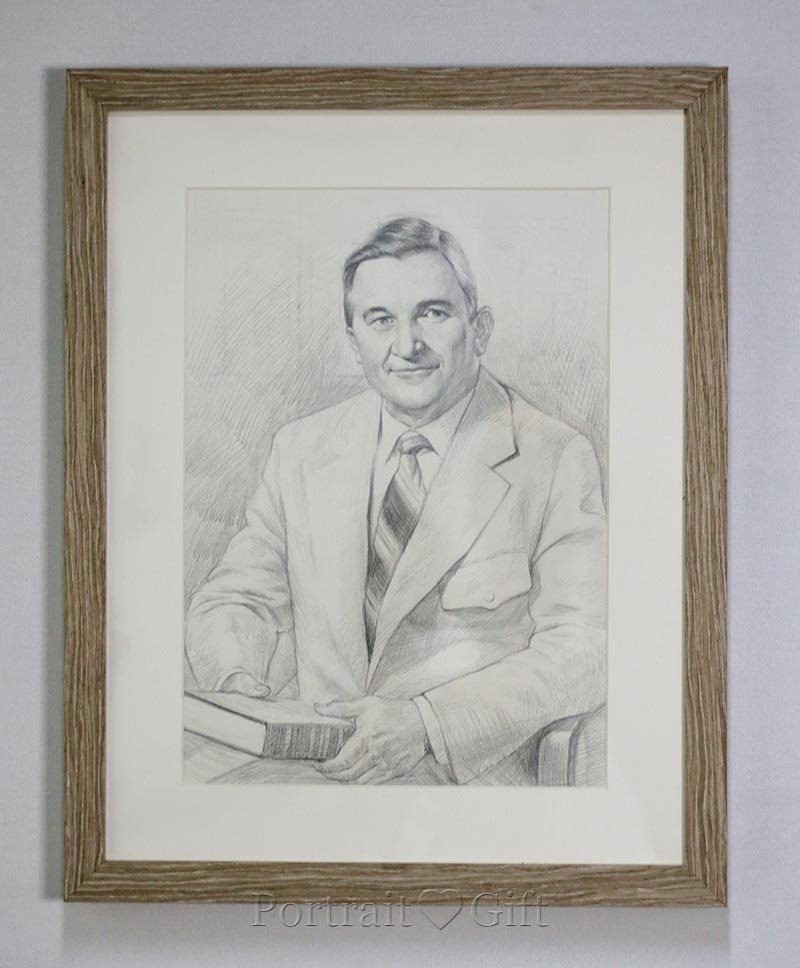 Male Pencil Sketch Portrait With Wood Frame